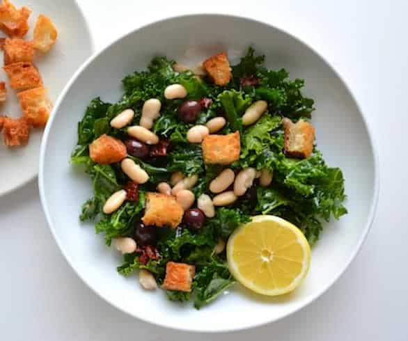 Kale and White Bean Salad with Lemon Rosemary Croutons ...